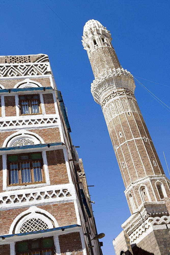 Mosque Minaret in Old Town Sana'a, Sana'a, Yemen