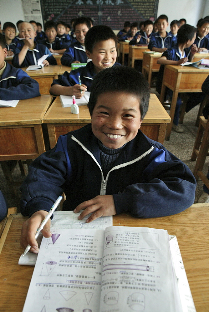 pupils in classroom at one of many new Kung Fu schools in Dengfeng, near Shaolin, Song Shan, Henan province, China, Asia