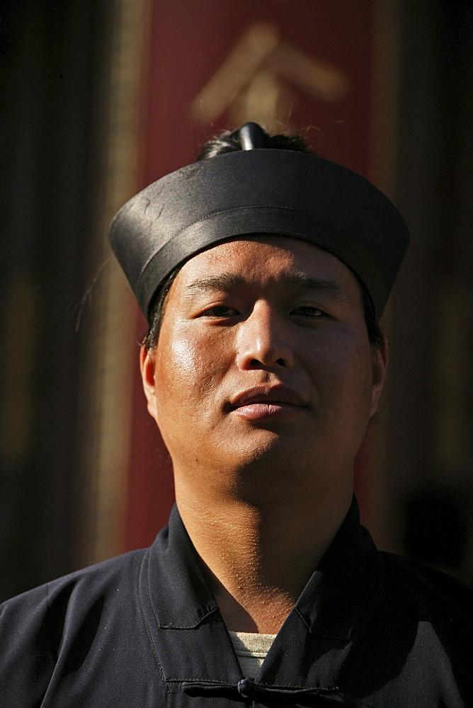 Taoist monk, Azure Cloud Temple, Tai Shan, Shandong province, Taishan, Mount Tai, World Heritage, UNESCO, China, Asia