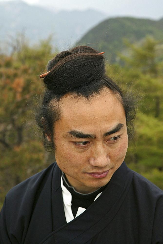 Taoist monk Zhang Qingren demonstrating Tai Chi, Hou Shi Wu Temple, Mount Tai, Tai Shan, Shandong province, World Heritage, UNESCO, China