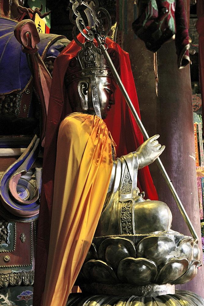 Manjushri, Manjusri, Chinese Wenshu, symbolic animal decoration, Xian Tong Temple, Monastery, Wutai Shan, Five Terrace Mountain, Buddhist Centre, town of Taihuai, Shanxi province, China, Asia
