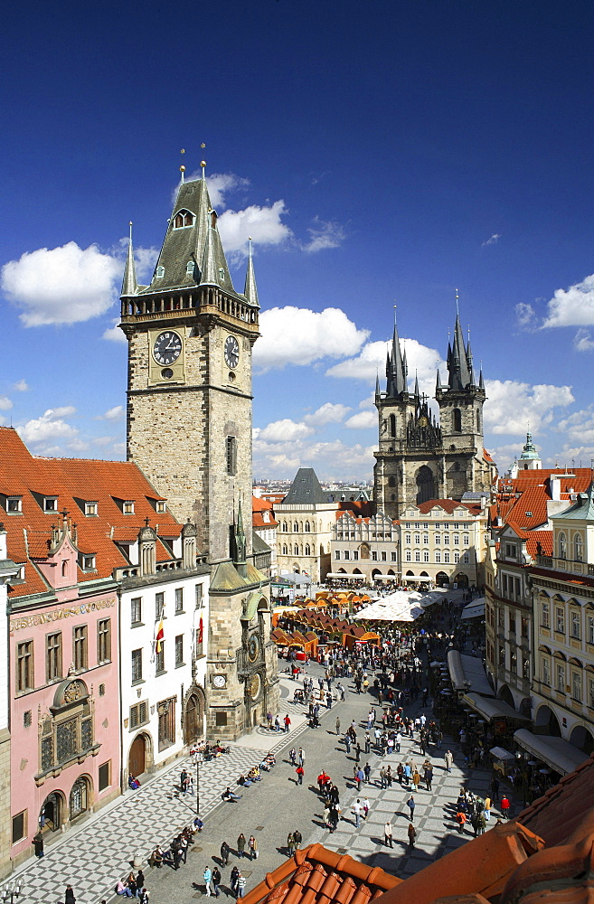 View of the Old Town Hall, Tyn Church, Old Town Square, Stare Mesto Staromestske Namesti, Prague, Czech Republic