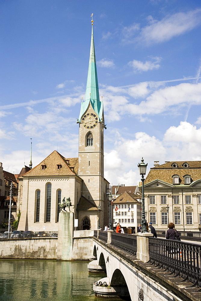View over Muenster Bridge to Fraumuenster, Zurich, Canton Zurich, Switzerland
