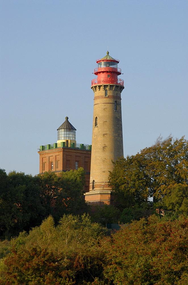 Lighthouses amidst treetops, Rugen Island, Kap Arkona, Mecklenburg-Western Pomerania, Germany, Europe