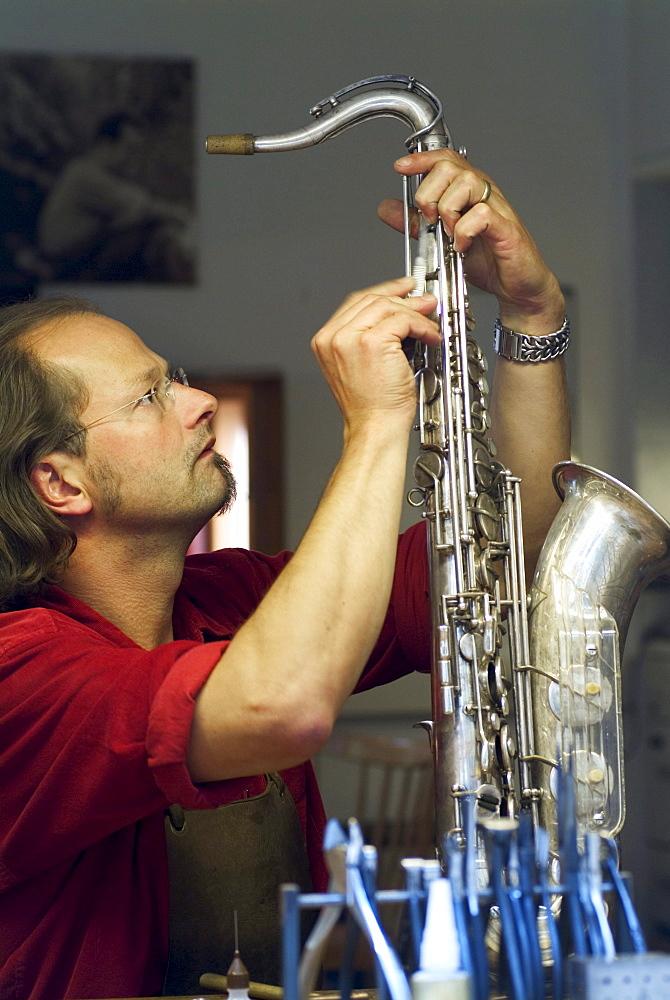 Backyard Repair Shop for Instruments, Schwabing, Munich, Bavaria, Germany, Saxophone, Music