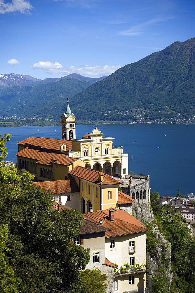 Pilgrimage church Madonna del Sasso, panoramic view over Lake maggiore, Orselina, near Locarno, Ticino, Switzerland