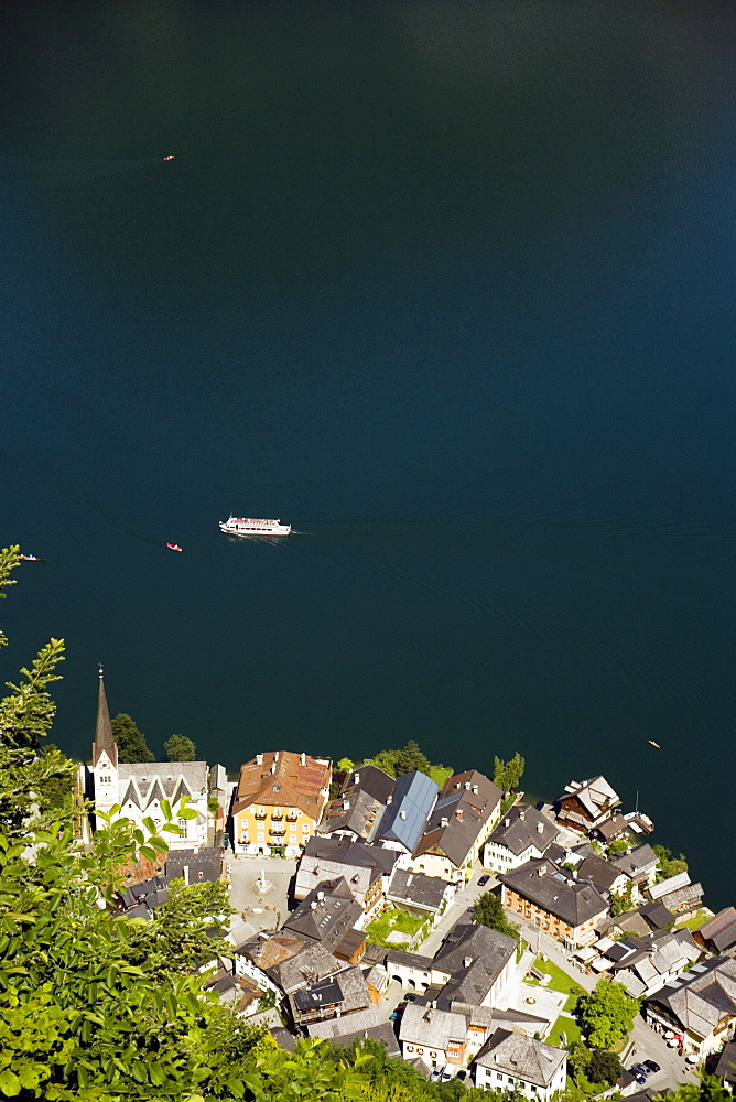 Aerial shot of Markt with Protestant Christ church, Hallstatt, Salzkammergut, Upper Austria, Austria