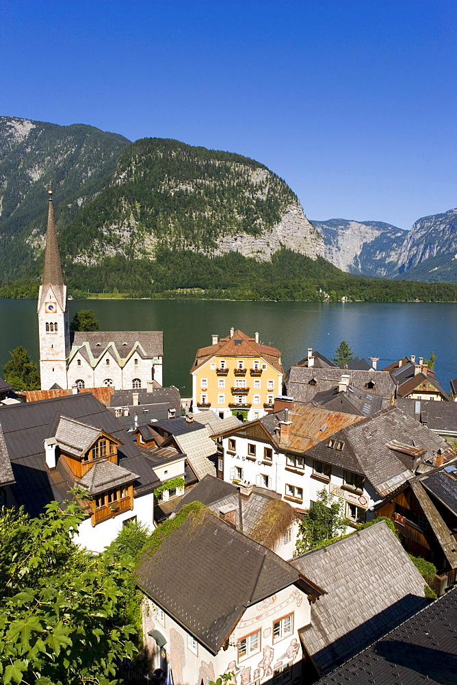 View over Hallstatt with Protestant Christ church and Lake Hallstatt, Salzkammergut, Upper Austria, Austria
