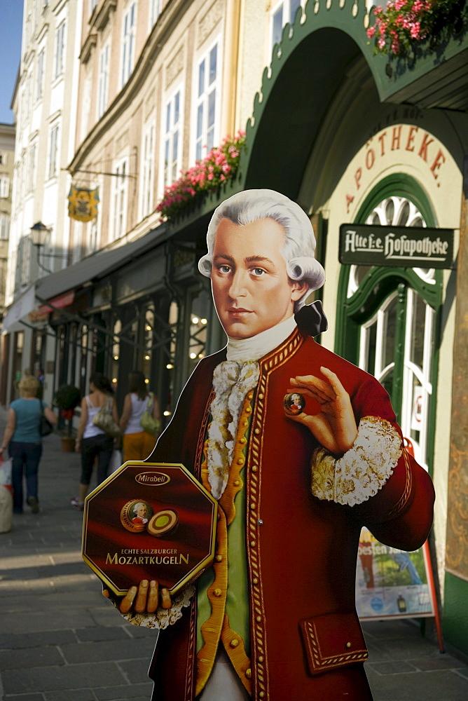 Mozartkugeln offered card board Morzart, Old Market, Salzburg, Salzburg, Austria