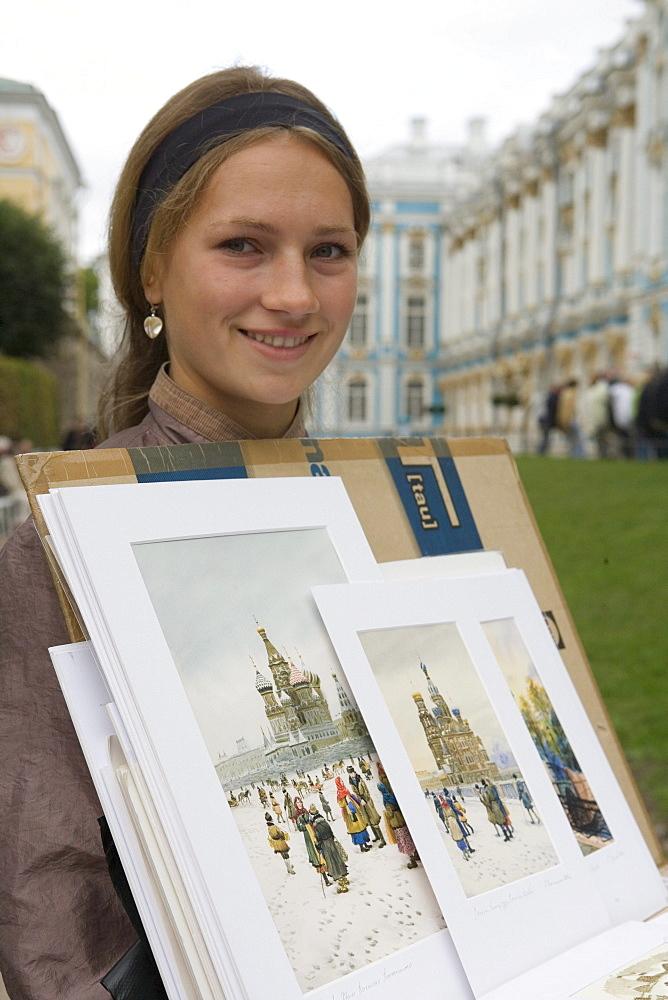 Young Russian Woman Selling Art, Catherine Palace, Grand Palace, Tsarskoye Selo, Pushkin, near St. Petersburg, Russia