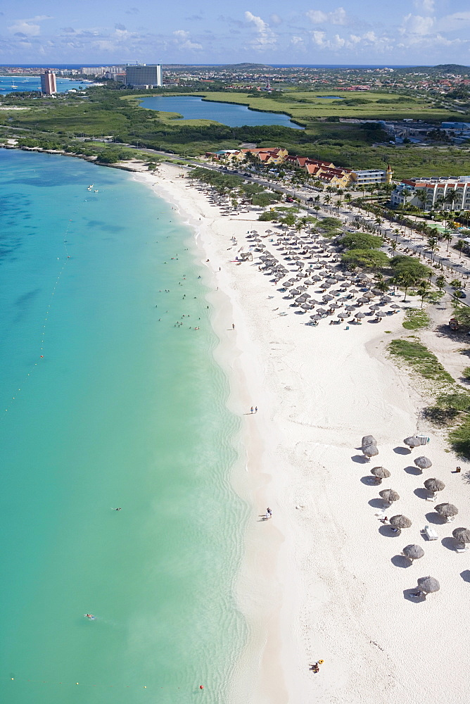 Aerial Photo of Eagle Beach and High-Rise Hotels of Palm Beach, Aruba, Dutch Caribbean
