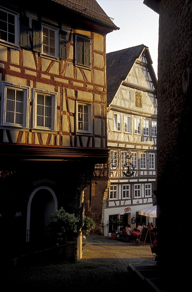Half timbered houses at the old town in the evening light, Schwaebisch Hall, Baden-Wuerttemberg, Germany, Europe