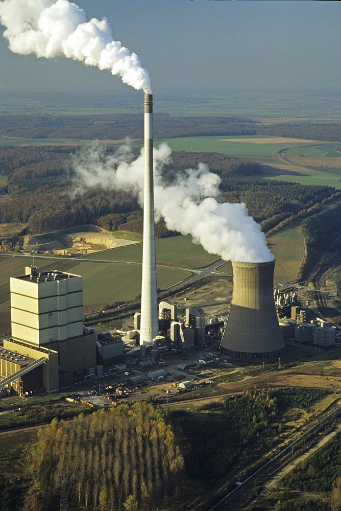 aerial photo coal fired power plant at Buschhaus near Helmstedt, brown coal open pit mine, Saxony Anhalt, Germany