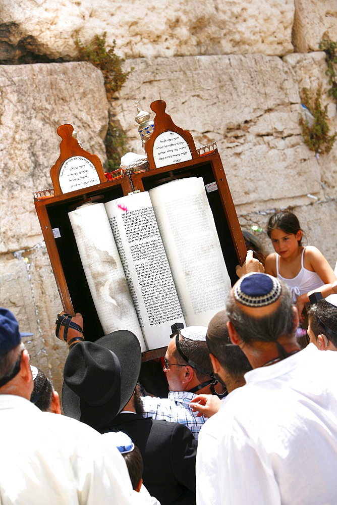 Jewish people praying at the Wailing Wall, Jerusalem, Israel