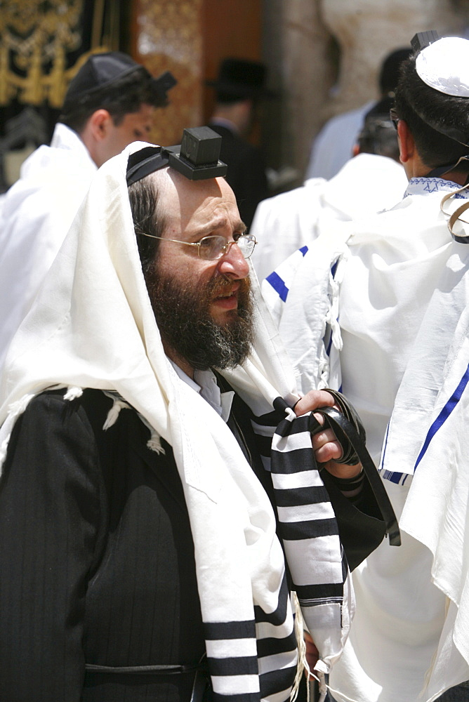 An Orthodox Jew praying at the Wailing Wall, Jerusalem, Israel