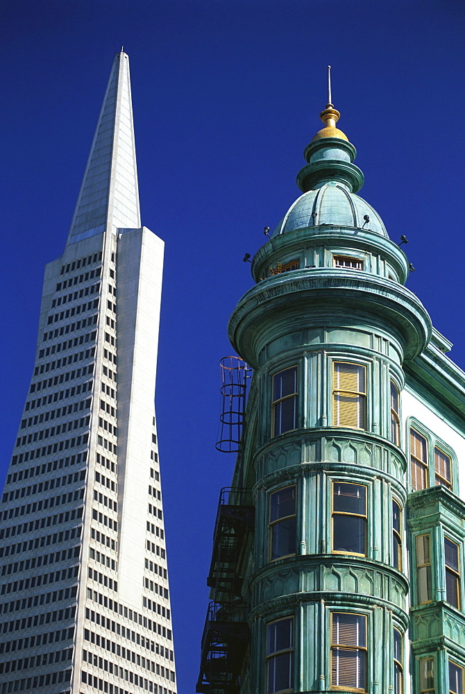 Columbus Tower Building and Transamerica Pyramid, San Francisco, California, USA