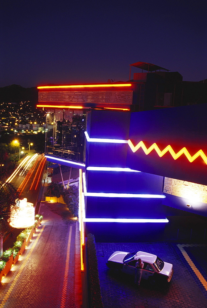 Discotheque Palladium at night, Acapulco, Mexico, America