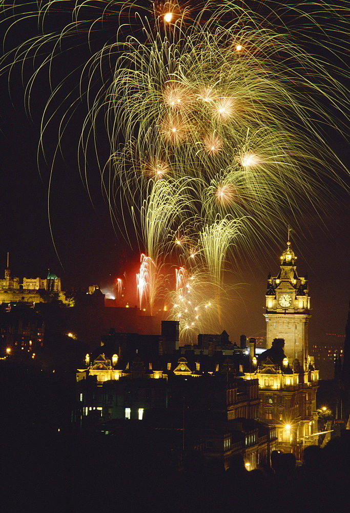 Fireworks at the Arts festival in Edinburgh, Scotland