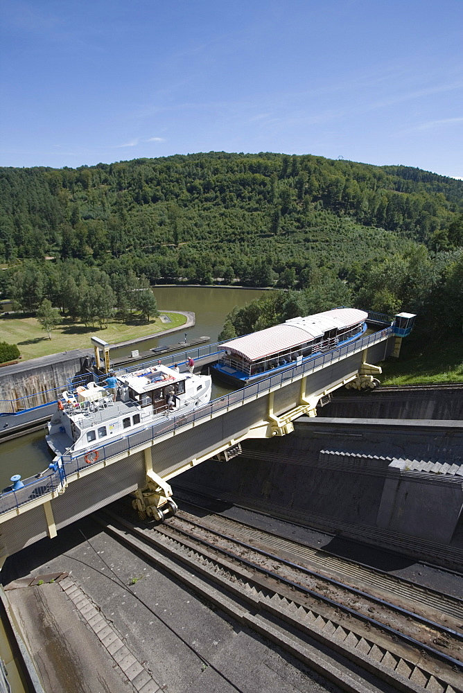 Houseboat and Tourist Boat on Arzviller Boat Lift, Saint-Louis-Arzviller Inclined Plane, Canal de la Marne au Rhin, near Arzviller, Alsace, France