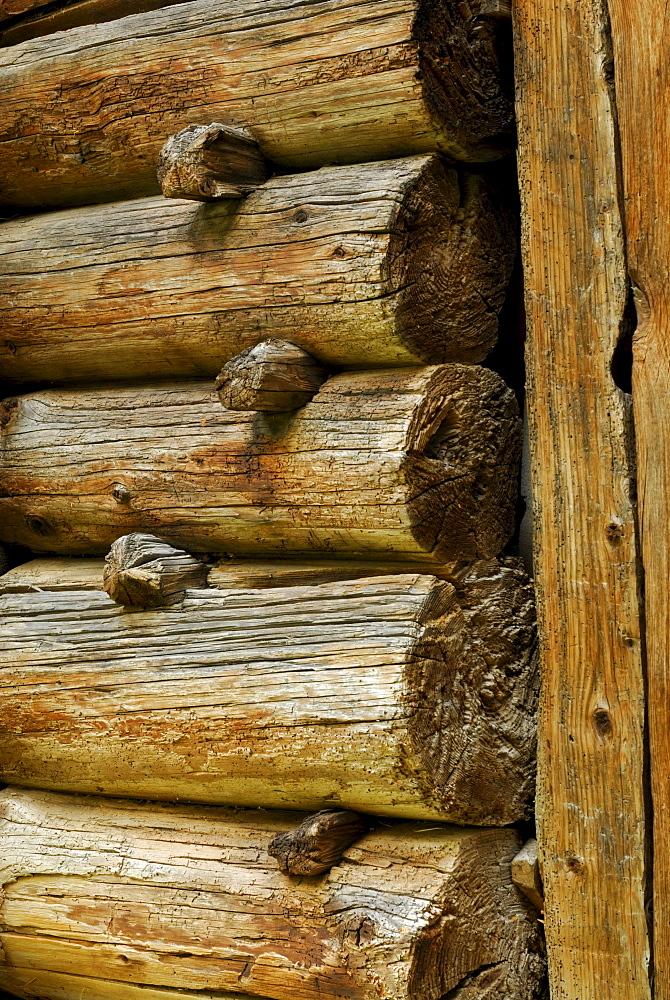 detail of block construction of haystack, Rossa, Val Calanca, Ticino, Switzerland