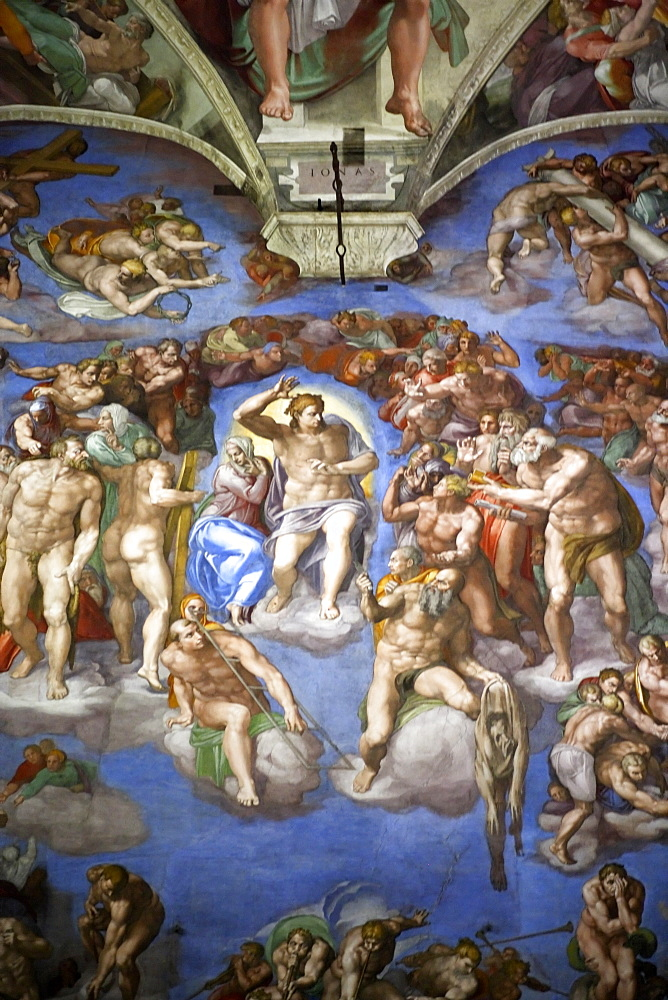 The Last Judgment by Michelangelo, altar wall of the Sistine Chapel, Vatican Museums, Vatican City, Rome, Italy