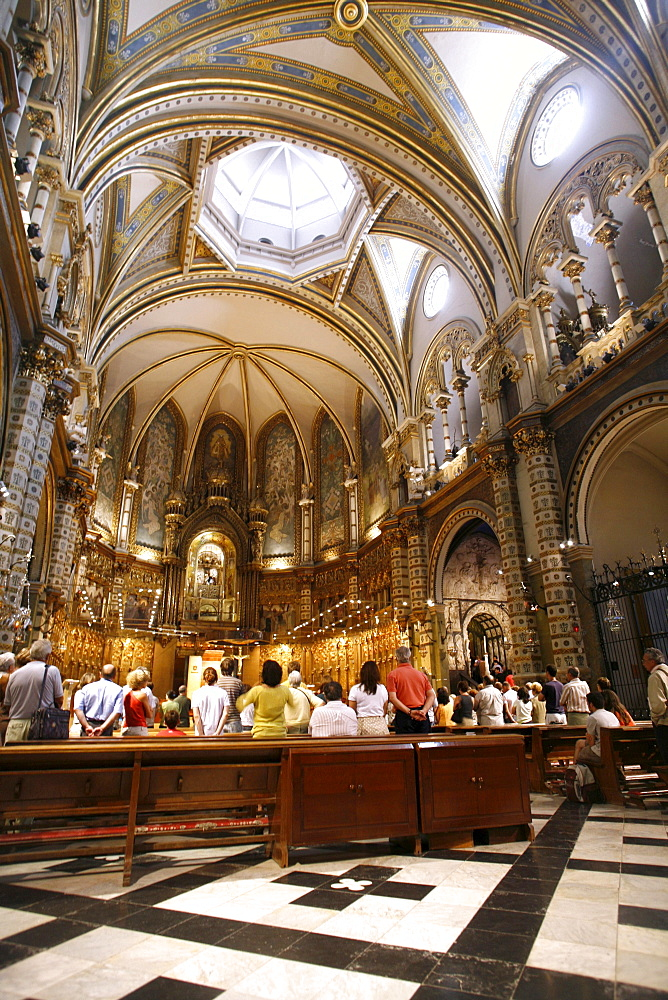 Worship, Montserrat Monastery and Benedictine Abbey, Catalonia, Spain