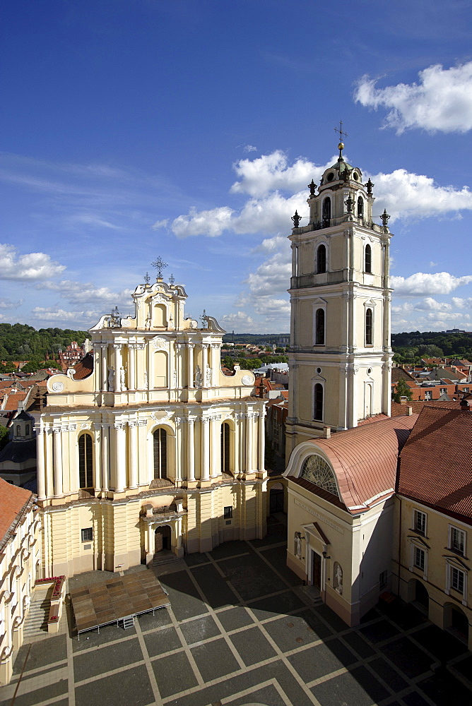 Patio of the campus of the university of Vilnius and St. John's church, Lithuania, Vilnius