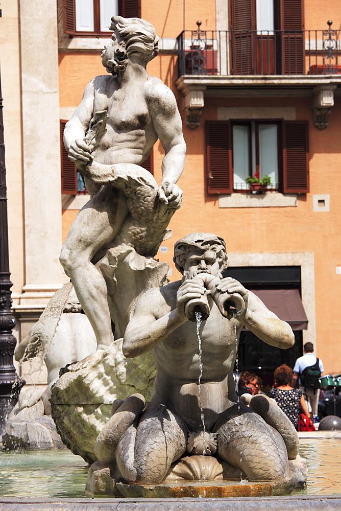 Part of the Fontana del Moro, Piazza de Navona, Rome, Italy