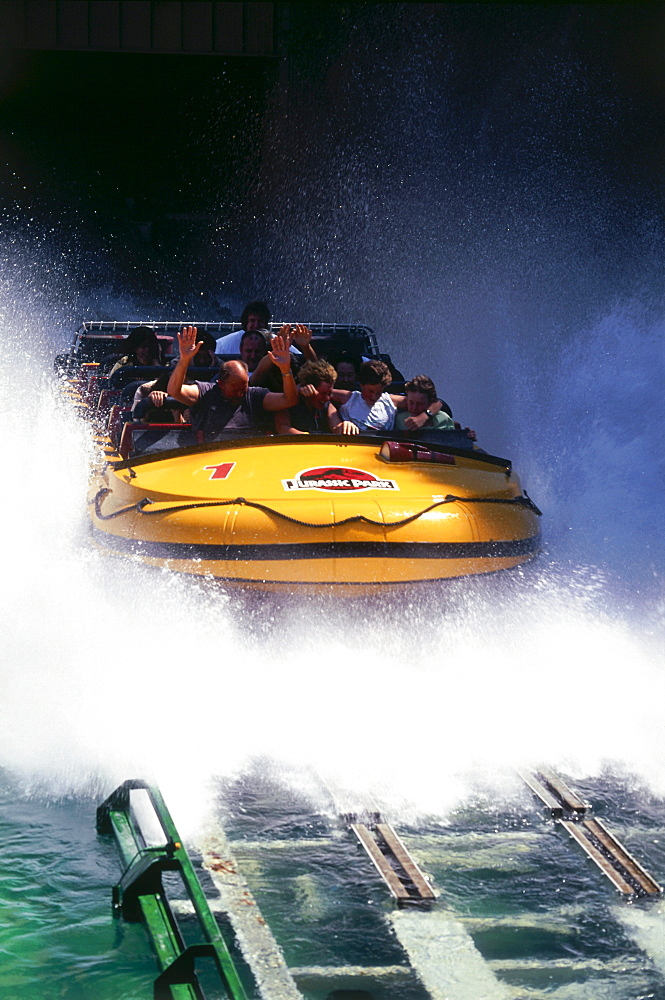 Jurassic Park water ride, Universal Studios, Universal City, L.A., Los Angeles, California, USA