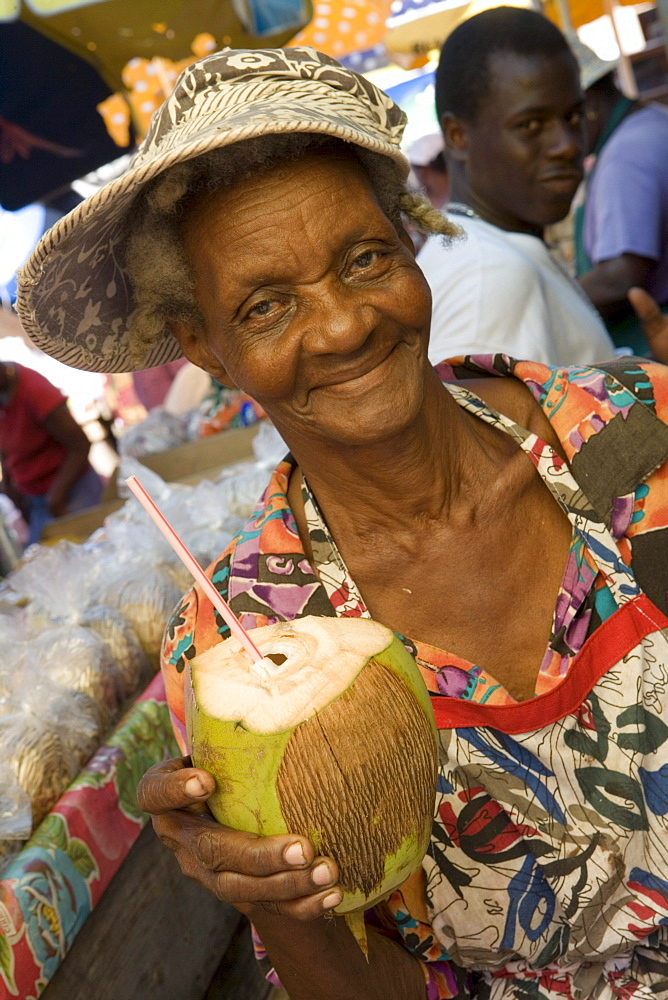 Woman at Market Serving Chilled Coconut, St. George's, Grenada