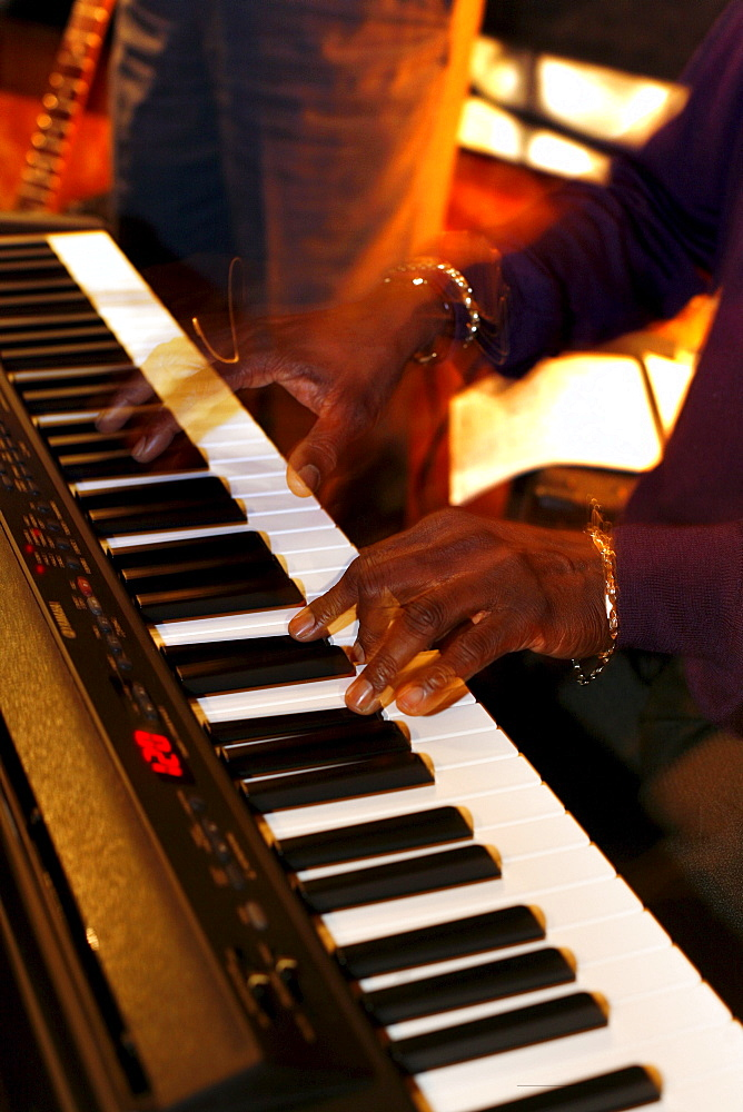 Musician playing the piano in Bobs Southern Bistro, Boston, Massachusetts, USA