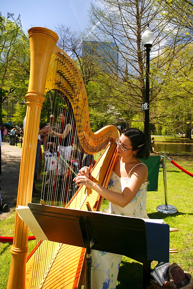 People playing music in the Public Gardens, Boston, Massachusetts, USA
