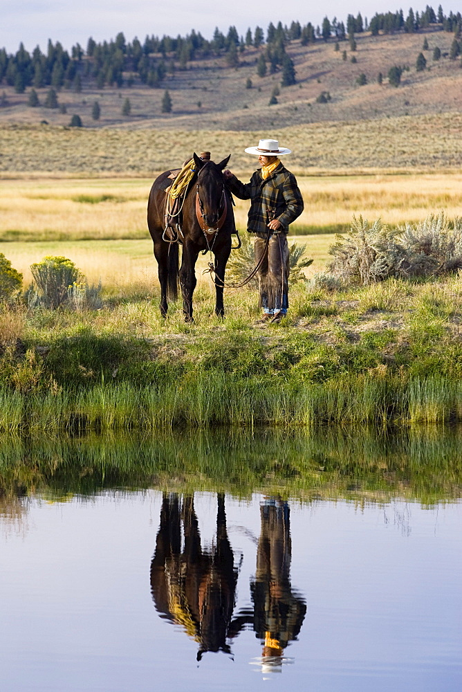 cowboy with horse, Oregon, USA