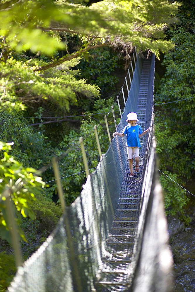 Girl on hanging bridge, rivercrossing in Abel Tasman National Park, north coast of South Island, New Zealand - 1113-86940