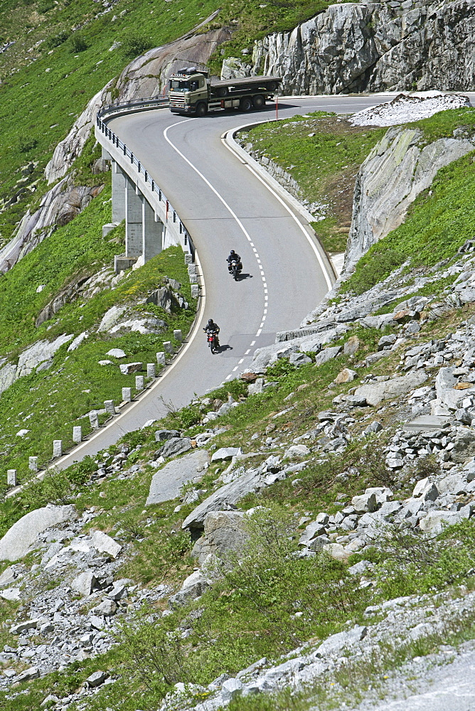 Motorbike tour in June across the Alps, Grimsel Pass, Lake Grimsel with ice floes, family touring with sidecar, girl, MR, Canton Berne, Switzerland, Europe