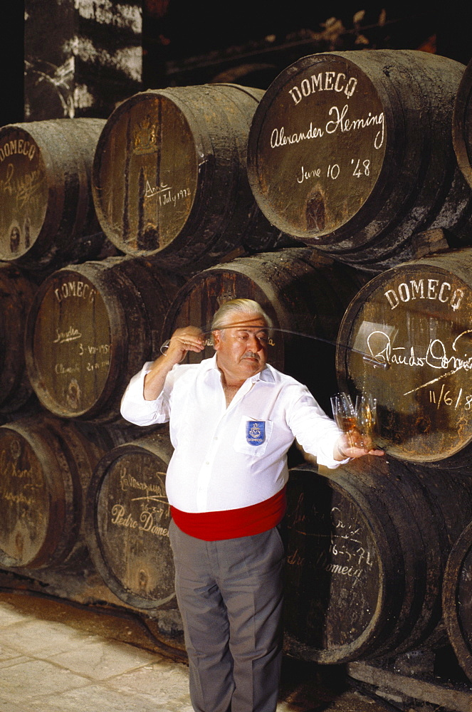 A wine taster pouring samples of Sherry into tasting glasses in front of a heap of Sherry casks, in the Bodegas Pedro Domeq, Jerez de la Frontera, Cadiz province, Andalusia, Spain