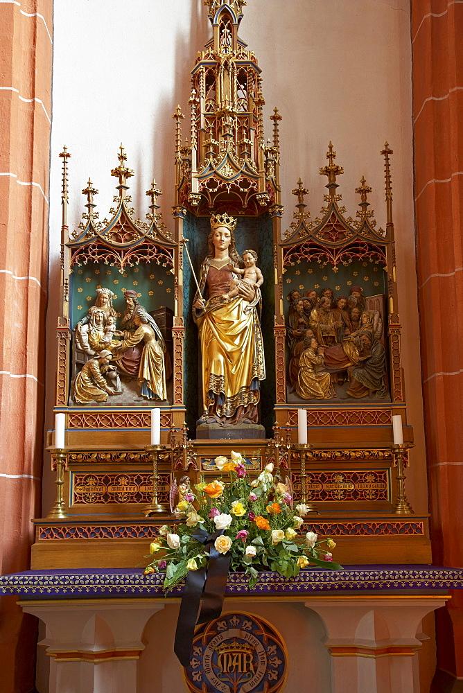 Marienaltar inside of St. Wendelinus' basilica, St. Wendel, Saarland, Germany, Europe