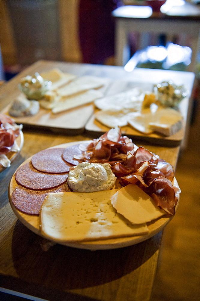 Cheese and ham platter, snack, Poysdorf, Mistelbach, Lower Austria, Austria