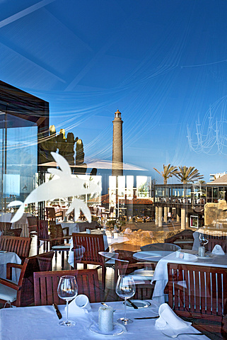 View of the restaurant of the Grand Hotel Costa, Meloneras, Maspalomas, Gran Canaria, Canary Islands, Spain, Europe