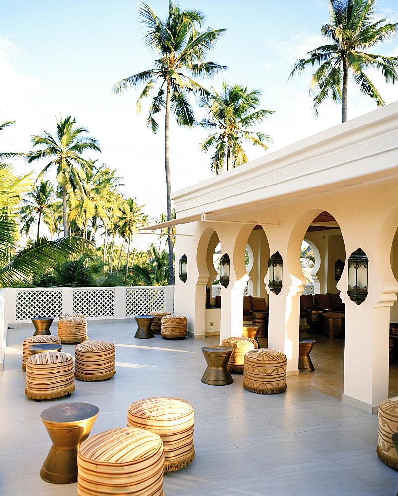 Bar under palm trees, Baraza Spa and Resort, Bwejuu, East Coast, Zanzibar, Tanzania, East Africa