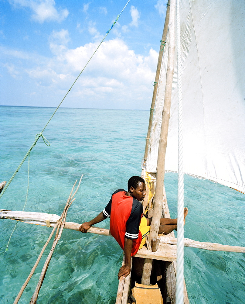 Sailing trip with traditional canoe, near Matemwe village, ahead the north eastern shore, Zanzibar, Tanzania, East Africa