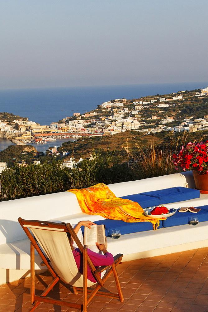 Terrace of the holiday rental Gabbiano, Island of Ponza, Pontine Islands, Lazio, Italy, Europe