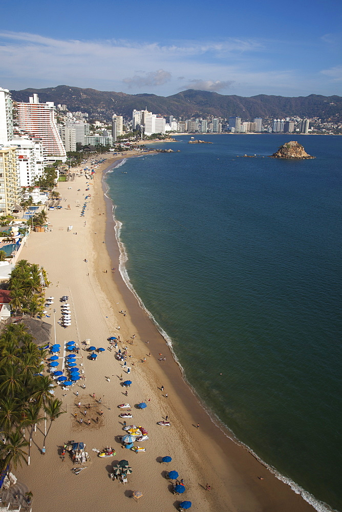 Overhead of high-rise hotels on El Morro beach, Acapulco, Guerrero, Mexico, Central America