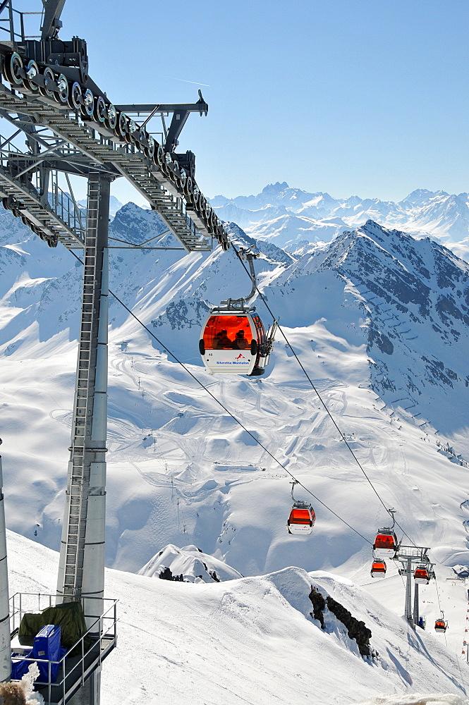 Cable car to Hochjoch, skiarea Silvretta Montafon in the Montafon, Vorarlberg, Austria, Europe