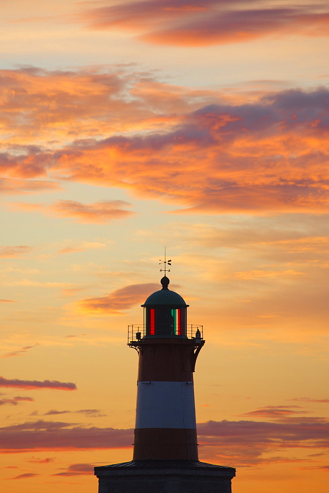 Lighthouse at sunset, Helsinki, Southern Finland, Finland, Europe