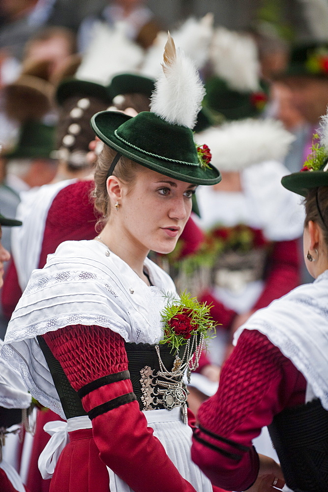 Women wearing traditional clothes at a festival, Christening of a bell, Antdorf, Bavaria, Germany