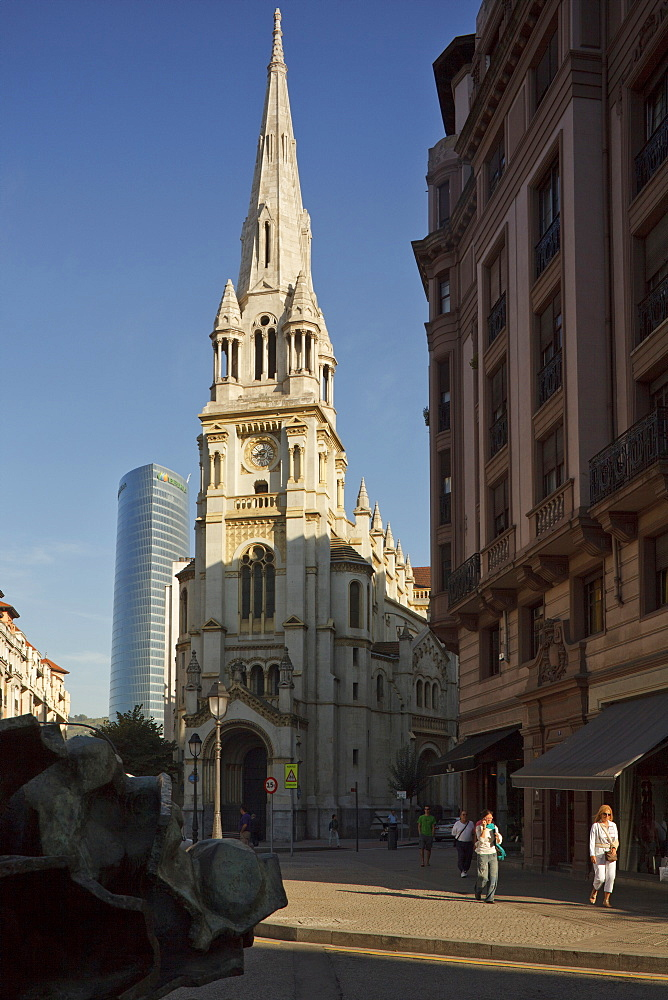Church San Jose in front of high rise building Torre Iberdrola, Plaza San Jose, Bilbao, Province of Biskaia, Basque Country, Euskadi, Northern Spain, Spain, Europe