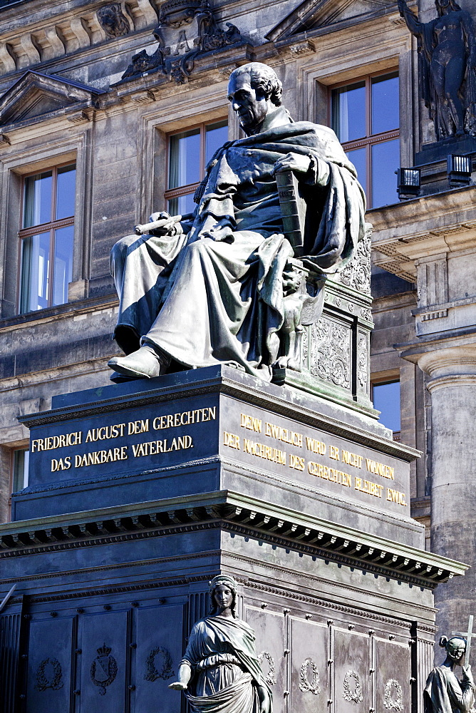 Bronze statue of Friedrich August I, King of Saxony, in front of the Staendehaus, Dresden, Germany