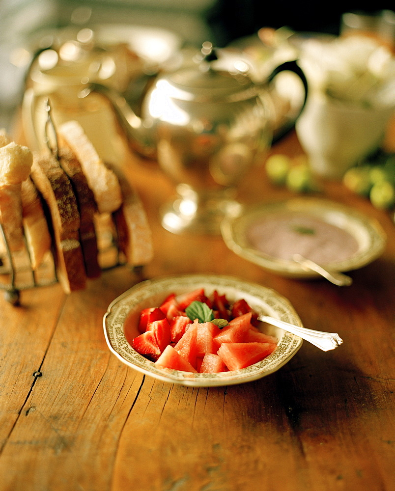 Strawberries and watermelon on a plate, Rowendale Homestead, Okains Bay, Banks Peninsula, South Island, New Zealand