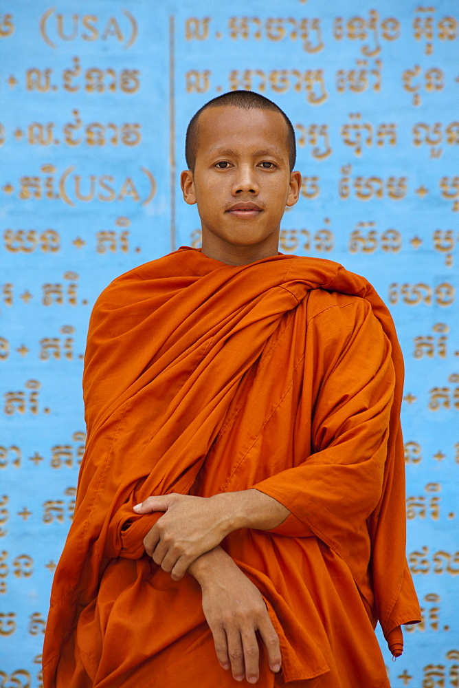 Young buddhistic monk in a temple in the Kampot province, Cambodia, Asia